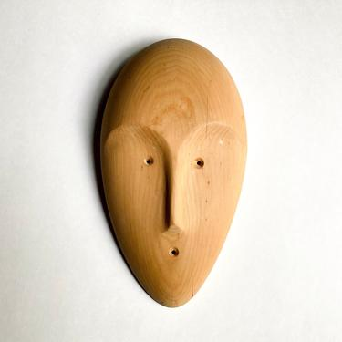 Minimalist Carved Wood Face Mask Sculpture Richard Thomas Santa Fe, NM Modernist by templeofvintage