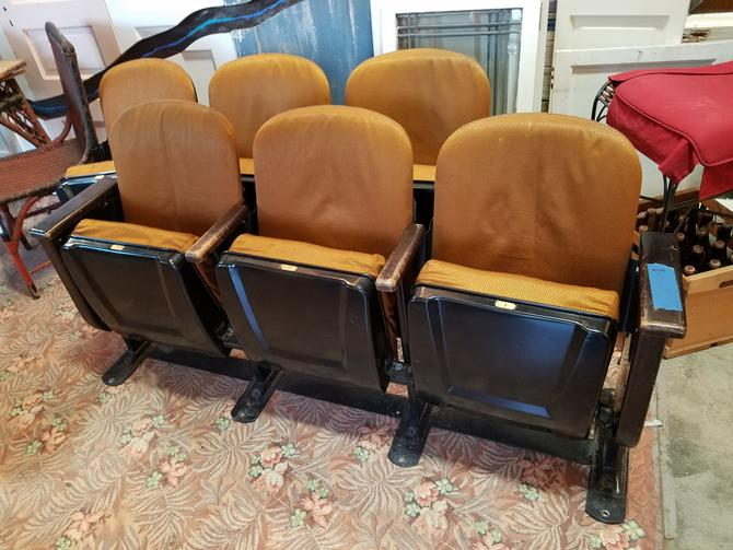 Vintage theater seats bank of 3
