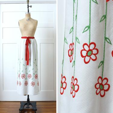 vintage 1970s maxi skirt • long white & red embroidered daisy flowers pop art skirt by LivingThreadsVintage