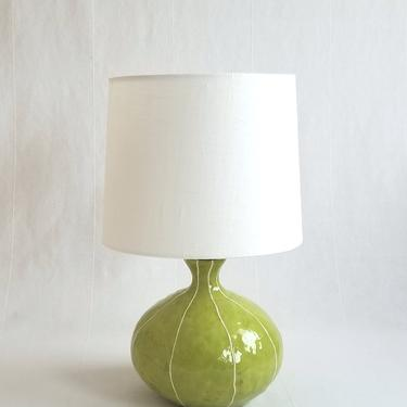 Lamp for bedside table. Handmade ceramic lighting for hygge living room or bedroom decor in green or blue with thin raised white stripes by krikriceramics