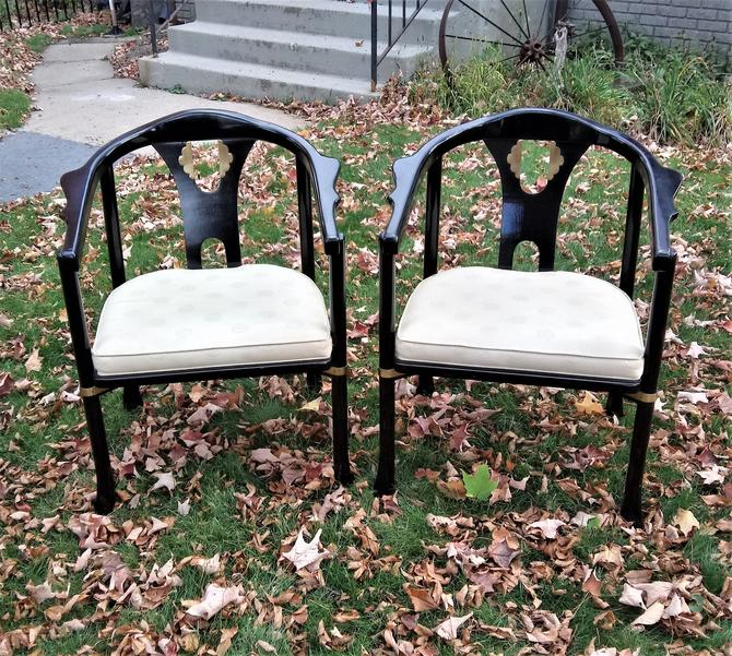 Pair Oriental Chairs Horseshoe Chinoiserie Brass Detail James Mont Ming  Japanese Hollywood Regency Palm Beach Asian Black Lacquer by 3GirlsAntiques