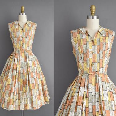 vintage 1950s dress | Kay Whitney Cotton Gold & Sage Print Full Skirt Summer Shirt Dress | Small | 50s vintage dress by simplicityisbliss