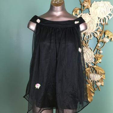 1960s negligée, sheer nylon chiffon, vintage nightie, mini nightgown, pin up style, 60s lingerie, small medium, boudoir, gaymode, mrs maisel by BlackLabelVintageWA