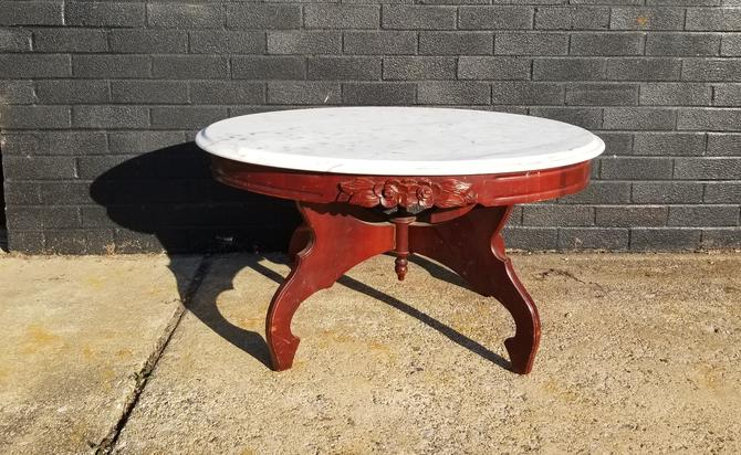 Eastlake Style coffee table w/ Italian marble top