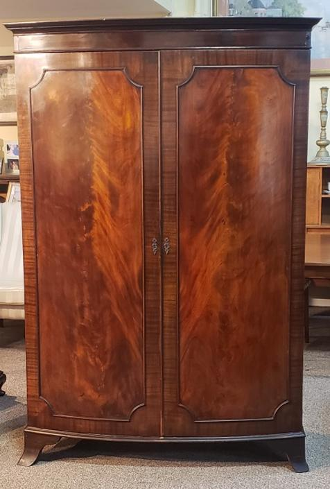 Item #T33 Bow Front Flame Mahogany Armoire c.1930s