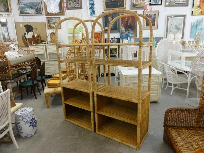 Pair of Island Style Rattan Arched Etageres