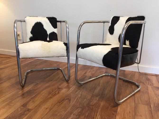 Pair Vintage Cantilevered Cowhide & Leather Chairs by Vintagefurnitureetc