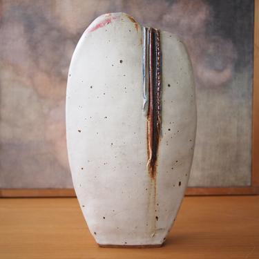 "Vintage Large 16"" STUDIO POTTERY VASE Biomorphic Weed Pot White Drip Glaze, Mid-Century Modern sculpture raymor danish eames knoll dansk era by refugegallery"
