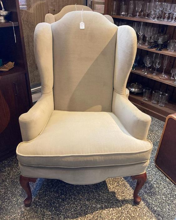 """Velveteen wingback chair(s). 31"""" wide 44"""" tall. Seat 21"""" x 21"""" x 20"""""""