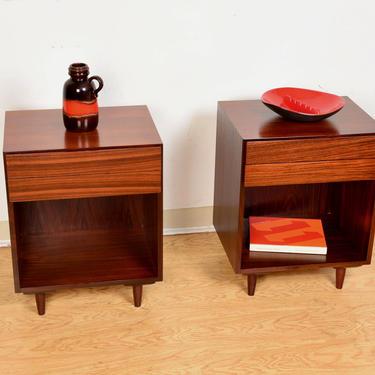 Pair of Split-Drawered Danish Modern Rosewood Nightstands