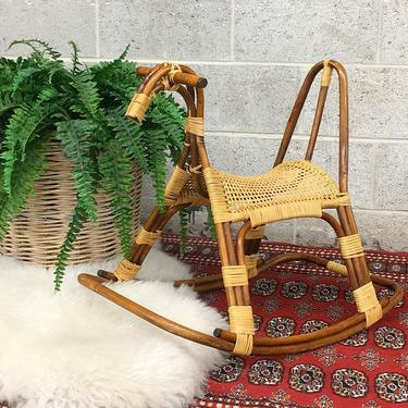Vintage Kids Rocking Horse Retro 1990s Bohemian + Rattan and Wicker Frame + Childrens Toy + Boho Rocker + Toddler Furniture and Games by RetrospectVintage215