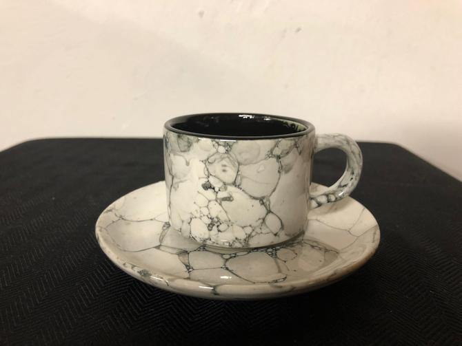 Vintage Porcelain Cups and Saucers in Marble Granite Pattern by OverTheYearsFinds