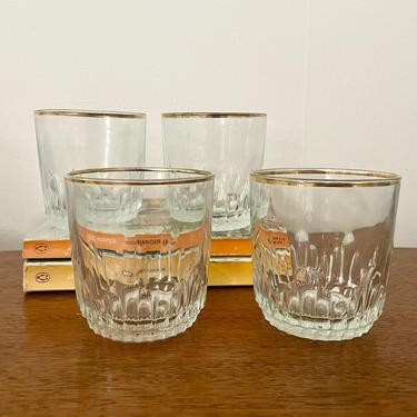 Set of 4- Vintage Pasabahce Glasses, Made in Turkey, Lowball Whiskey Cocktail Glasses with Gold Rim by BlackcurrantPreserve