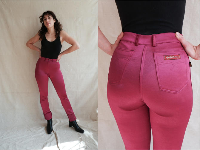 Vintage 70s Raspberry Disco Pants/ 1970s 80s High Waisted Skin Tight Shiny Leggings/ Studio 54/ Size XS small by bottleofbread