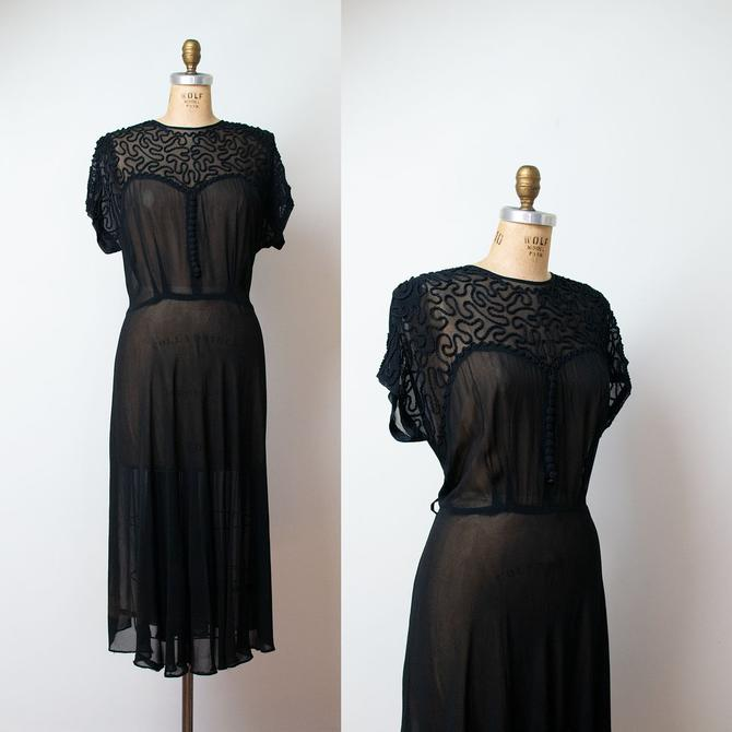 1e3c7d13210 1940s Sheer Black Dress   40s Soutache Plus Size Dress Lane Bryant by  FemaleHysteria