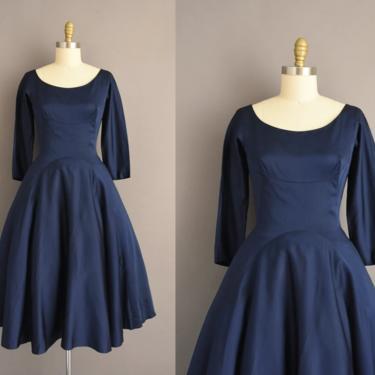 vintage 1950s dress | Jonny Herbert Navy Blue Bridesmaid Cocktail Party Full Skirt Dress | Small | 50s vintage dress by simplicityisbliss