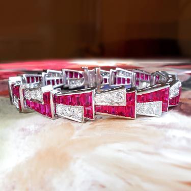 """Vintage Ruby Diamond Bracelet Circa 1940's 17.40ct t.w. Lab Created Ruby & Diamond Platinum Bracelet Platinum Fits 6.5-6.75"""" inch Wrist by YourJewelryFinder"""