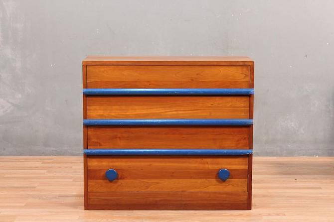 Mid Century Pine & Blue 4-Drawer Dresser