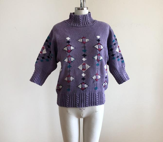 Purple Geometric Colorwork Sweater with Turtleneck - 1980s by LogansClothing