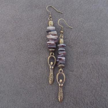 Goddess earrings, African statement earrings, Afrocentric earrings, black tribal earrings, antique brass earrings, boho chic, female figure2 by Afrocasian