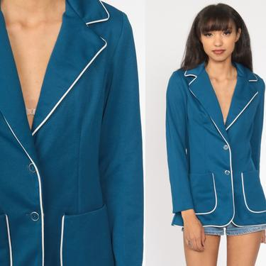 Blue Blazer 70s Jacket Piping Trim Notched Collar Hippie Boho Button Up 1970s Polyester Vintage Retro Bohemian Preppy Small by ShopExile