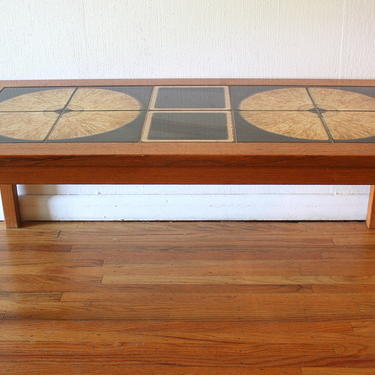 Mid Century Modern Danish Teak Tile Top Coffee Table
