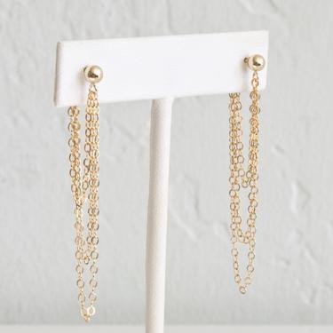 Gold Chain Drop Earrings, Dainty Chain Earrings, Long Dangle Earrings for Women, Sterling Silver, 14k Gold Fill, LEILAJewelryshop, E205 by LEILAjewelryshop