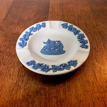 Vintage Wedgwood Pale Blue on Cream Jasperware 3 Slot Ashtray Muses with Pegasus by OverTheYearsFinds