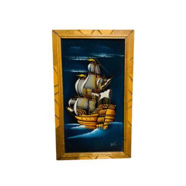 Mid Century Velvet Boat Painting, Boho Wall Art, Tiki Bar Wall Decor, MCM Velvet Painting by VivaLaVintagedotTX