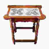Rare 18th Century Colonial Porringer Table - Dutch Delft Rose Tile Top, Stretcher Tea Table by LynxHollowAntiques