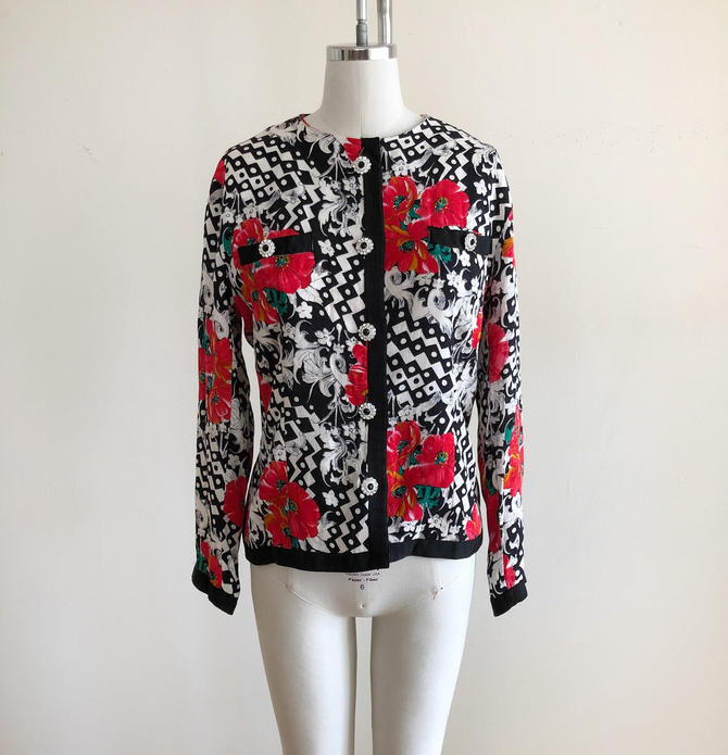 Bright Geometric and Floral Print Silk Jacket - 1980s by LogansClothing