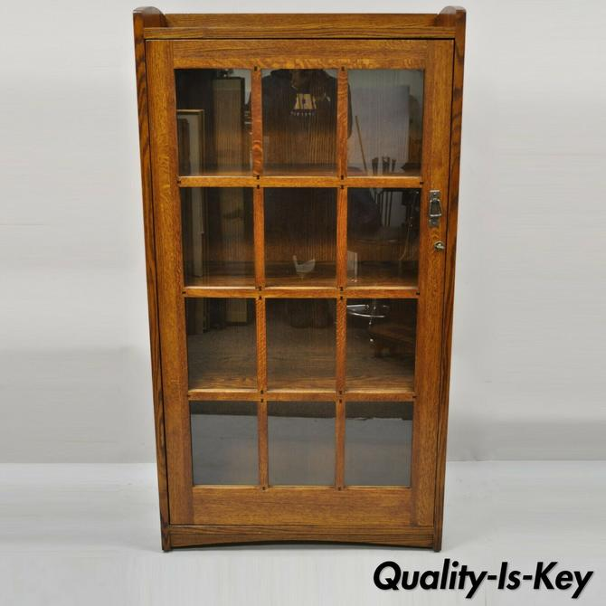 Mission Oak Style Arts & Crafts One Door Oak Wood China Cabinet Curio Bookcase