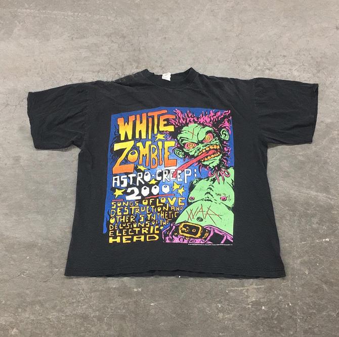 Vintage White Zombie Tee 1990s Retro Size XL Astro Creep 2000 + Black Cotton + Band Tour T + Freakazoid Heaven 88 + Unisex Clothing by RetrospectVintage215