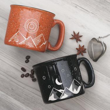 Good Day Camp Mugs - Good Morning + Good Night Mountains Engraved on Ceramic by BreadandBadger