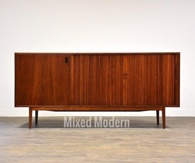 Walnut Danish Style Tambour Credenza Dresser by mixedmodern1