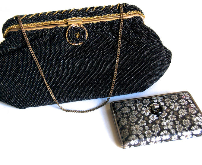 Vintage French Black Beaded Clutch with Compact Midcentury Evening Bag Luxury Accessories Formal Wear Beaded Pouch Purse Gift for Her by Curiopolis