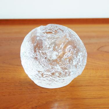 Scandinavian Modern Kosta Boda Snowball Crystal Candle Holder Large Made in Sweden by MidCentury55