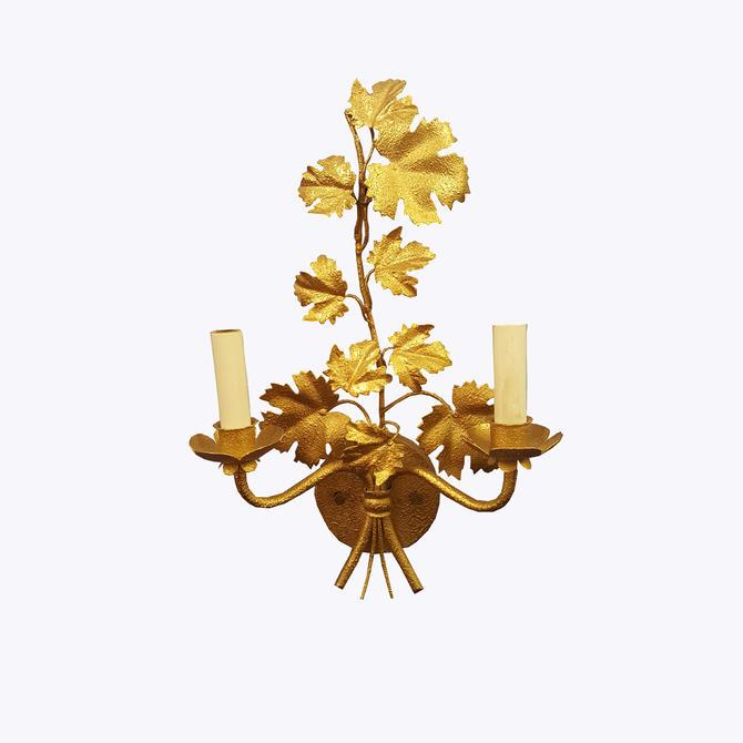 Pair of Gold Multi Leaf Sconces