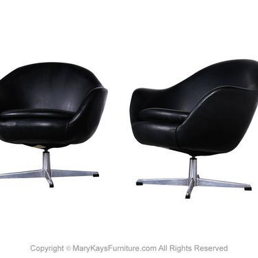 Pair Mid Century Overman Carl Eric Klote Swedish Swivel Chairs by Marykaysfurniture