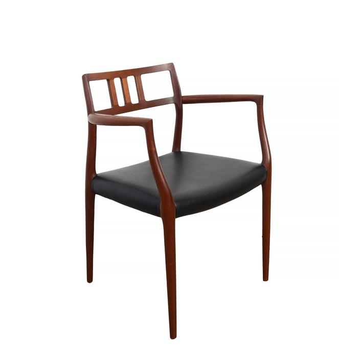 J.L. Moller Teak Dining Chair Model 64 Black Leather Arm Chair Danish Modern by HearthsideHome