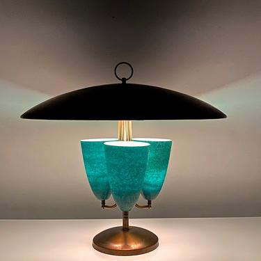 Large Modernist Brass Canopy Fiberglass Cone Table Lamp 1950s by 20cModern
