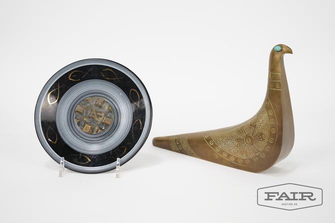 Brass Bird and Ashtray