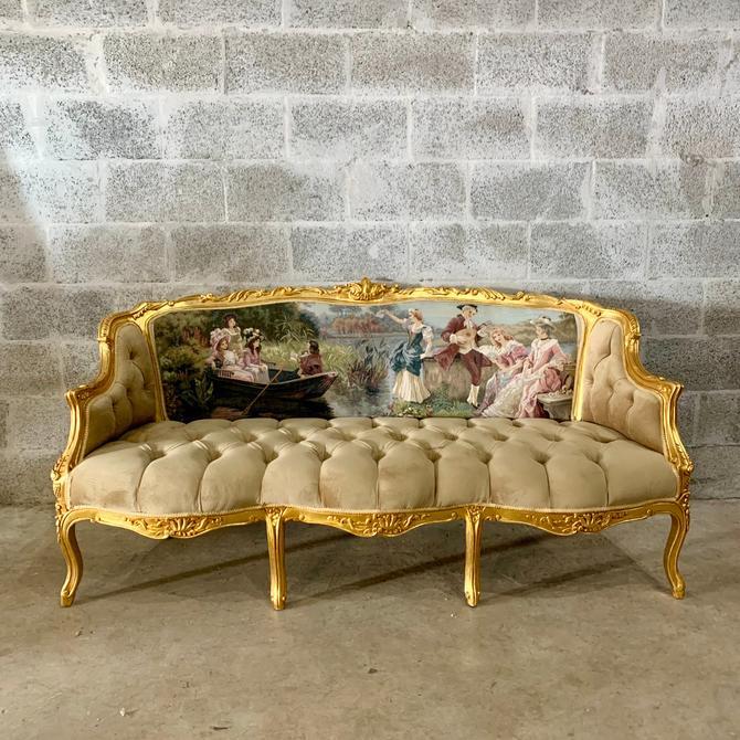 Baroque Throne Sofa Baroque Chair Marquise Furniture Rococo Velvet Tufted Gold Frame Interior Design by SittinPrettyByMyleen