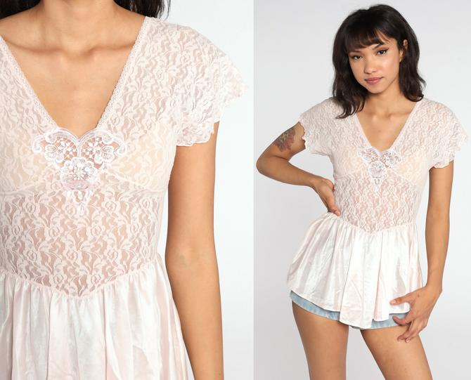 Pink Lingerie Top Sheer Lace Shirt Baby Pink Tank Top 80s Cami Top Pastel Peplum Shirt 1980s Boho Romantic Vintage Bohemian Small xs s by ShopExile