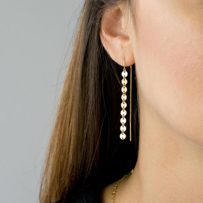 Gold Coin Threader Earrings, Long Dangle Earrings, Minimalist Earrings, Sterling Silver, 14k Gold Fill, Gift for Her, LEILAJewelryshop, E209 by LEILAjewelryshop