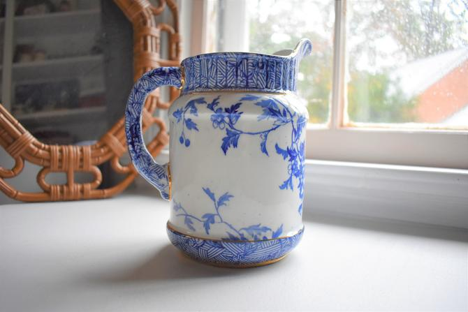 Ceramic Pitcher or Vase w/ Delft-style Imagery and Gilding 36 oz by LostandFoundHandwrks