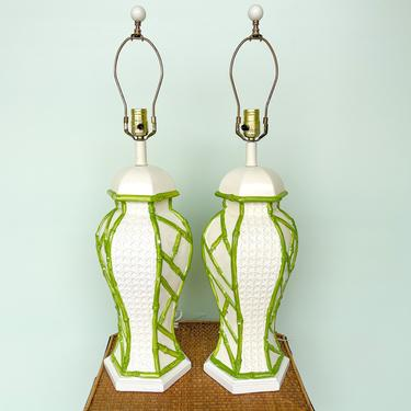 Pair of Faux Bamboo and Cane Ginger Jar Lamps
