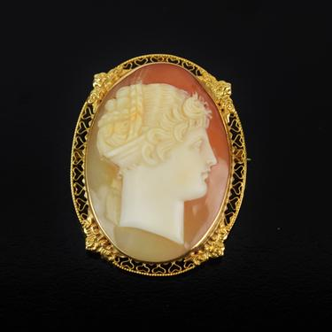 Vintage 14k Solid Gold Carved Shell Cameo Brooch Pendant Profile Neoclassical Woman by PrairielandArt