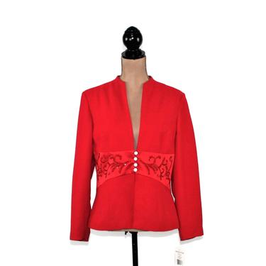 Red Cocktail Jacket Large, Dressy Formal Evening, Size 12 Petite Clothes for Women, 90s Vintage Clothing from Positive Attitude by MagpieandOtis