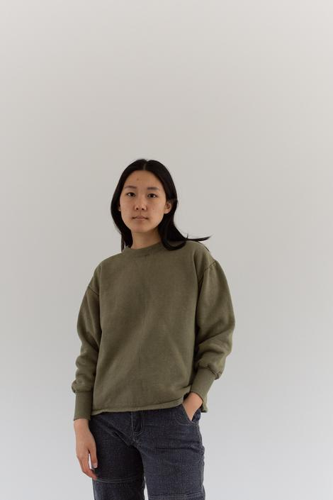 Vintage French Faded Olive Green Sweatshirt   Cozy Fleece   70s Made in France   FS005   S M by RAWSONSTUDIO